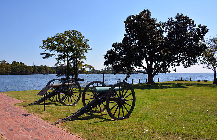 Restored cannons outside the Barker House in Edenton, NC